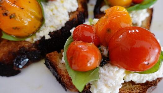 Roasted Tomato Bruschetta with Ricotta Creme